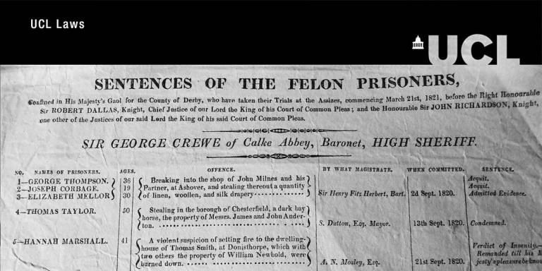 Image of record for sentences of the felon prisoners 1821