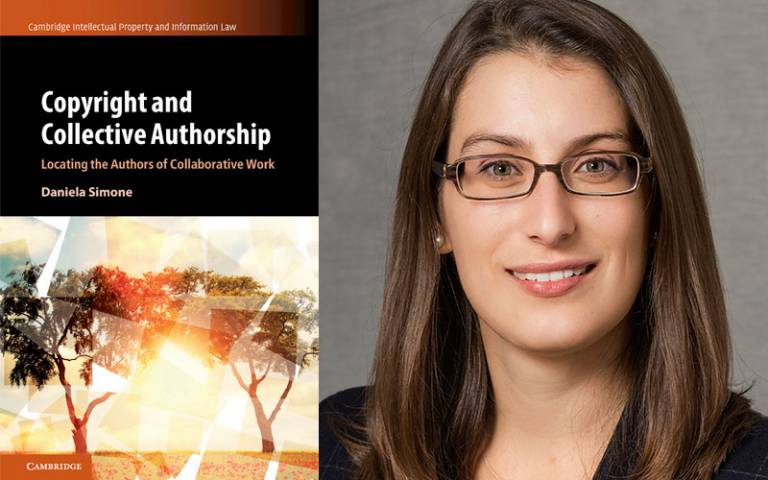 Image of Daniela Simone with a copy of the cover of her book