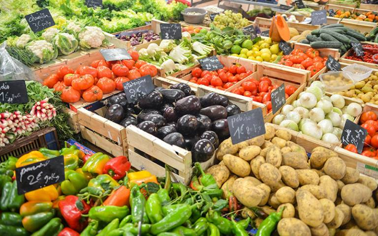 image of a food market with many colourful vegetables on sale. prices in euros