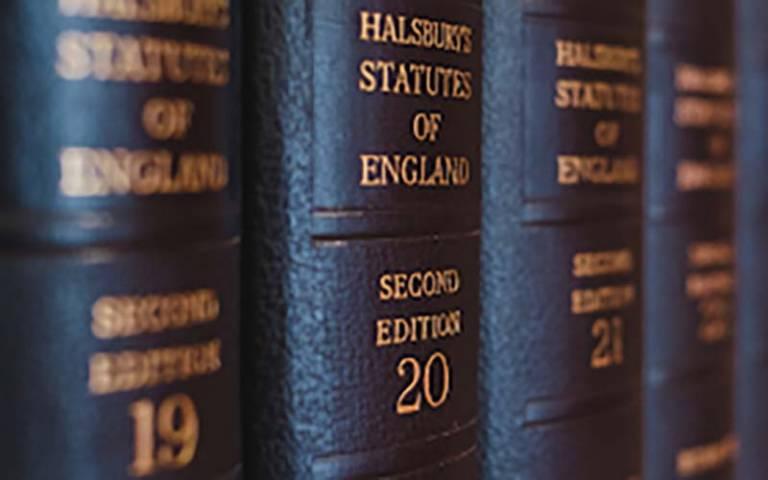 Statute books on shelf