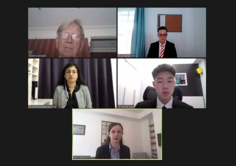 Screenshot of the virtual Herbert Smith Freehills Junior Mooting Competition