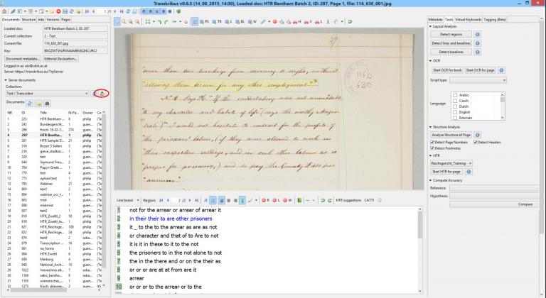 Screenshot showing the Transkribus platform and Bentham manuscript