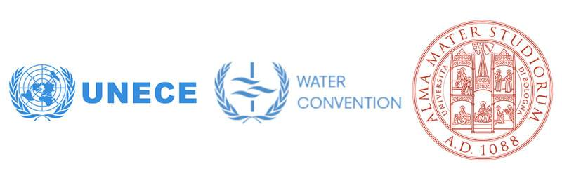 Logos for University of Bologna, UNECE water convention