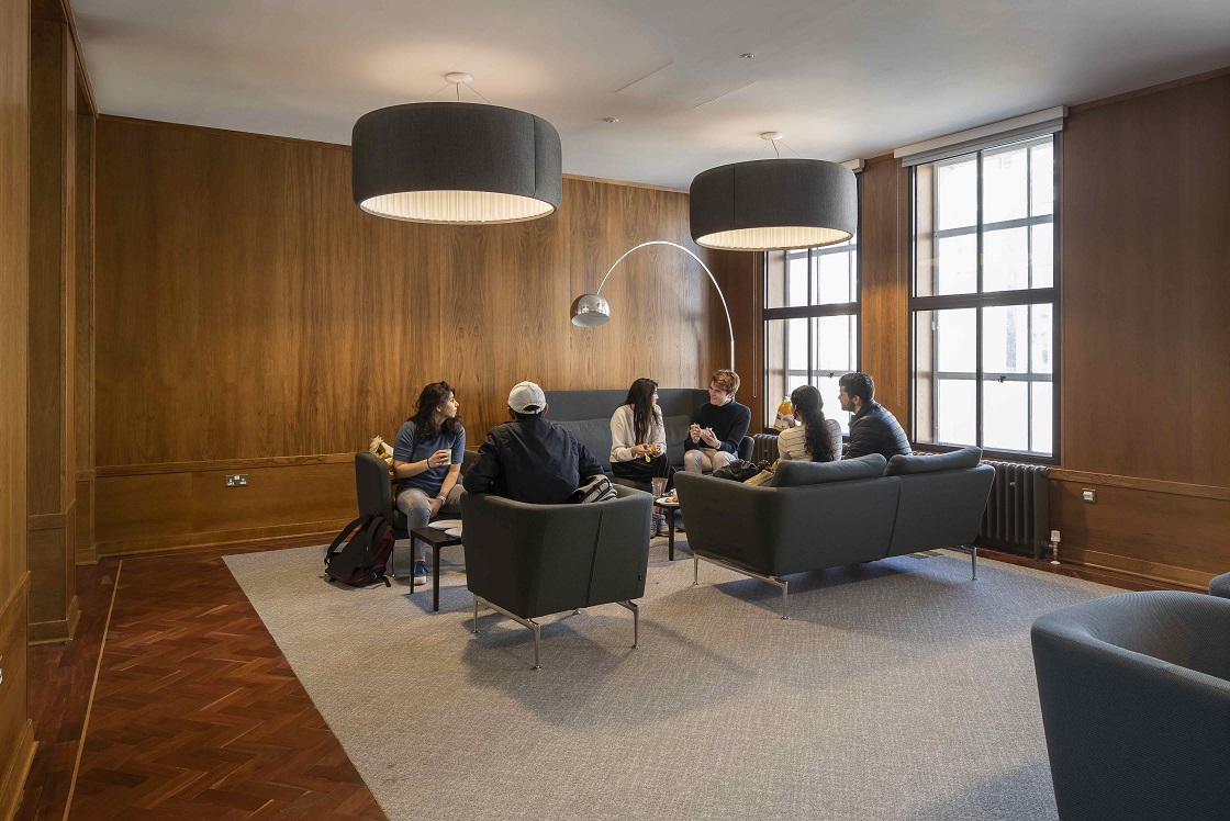 Students sitting in the Cissy Chu Common Room at Bentham House