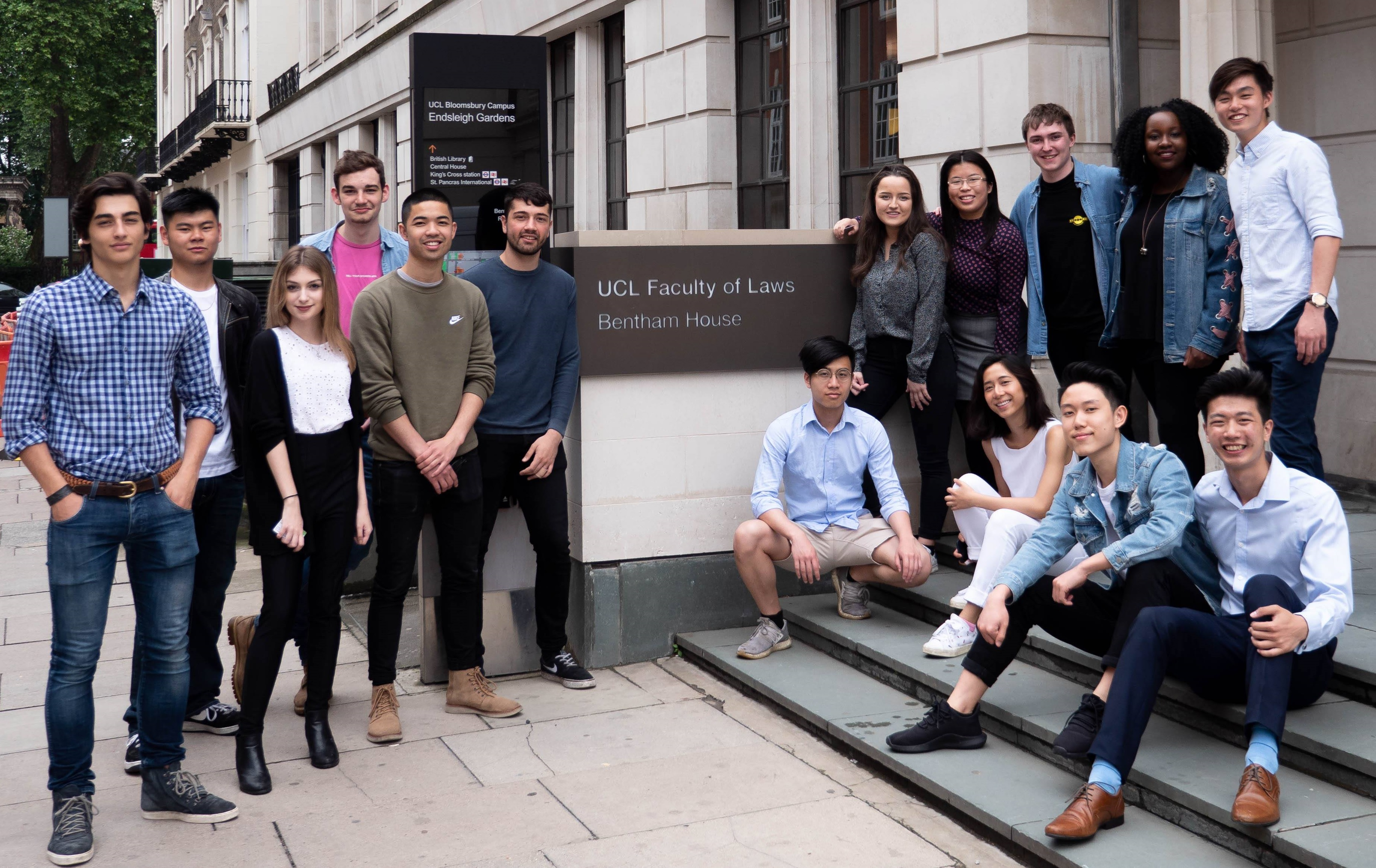 The UCL Law Society incoming committee in front of Bentham House