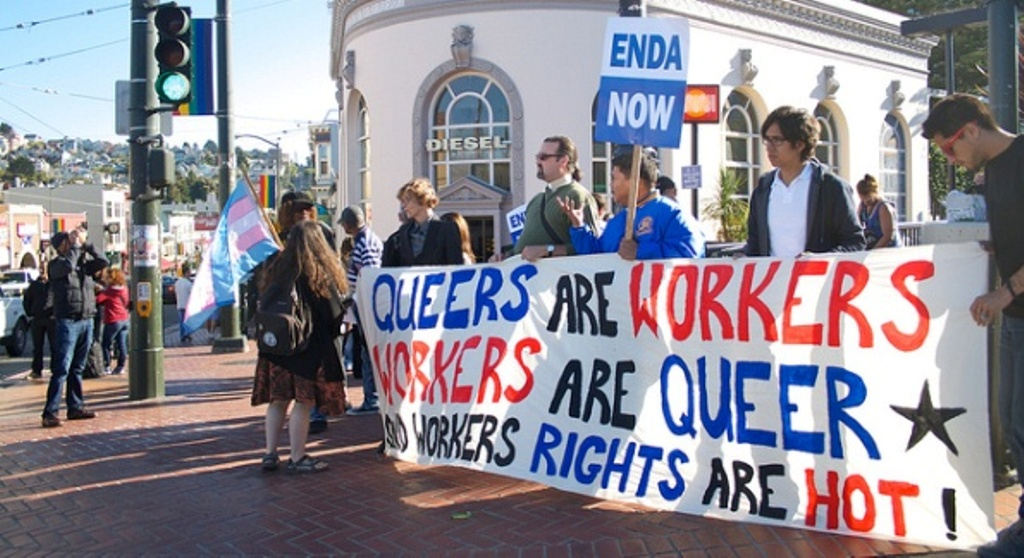 Protesters on a queer workers rights march