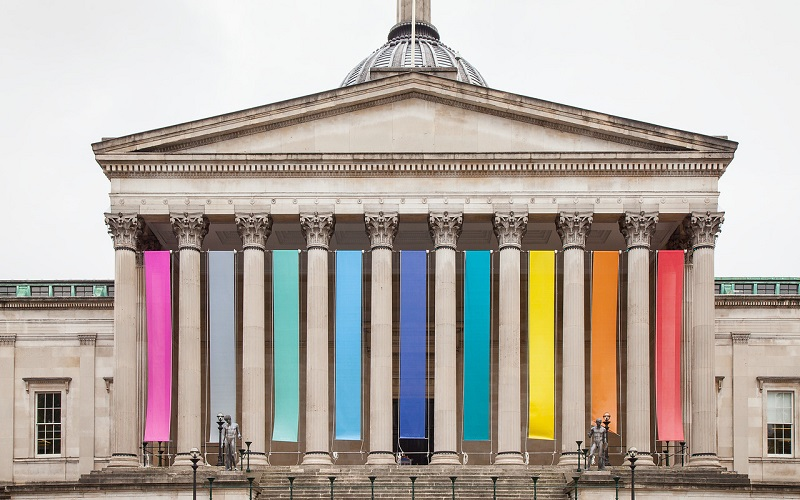 UCL Portico with rainbow banners