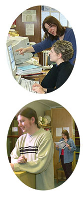 Top: Help in the RNID Library.  Bottom: Reading in the ILO Library
