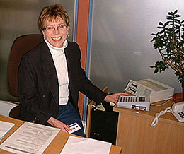 Photograph of Jan Grannell: one of the staff at the new Photocopying Help Desk