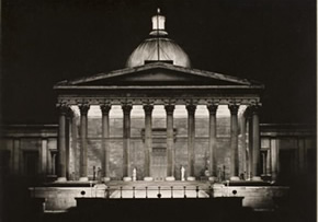 UCL Portico at night, 1937