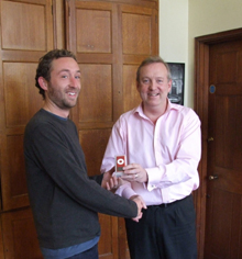 Image: Paul Ayris  awards an iPod to the draw winner