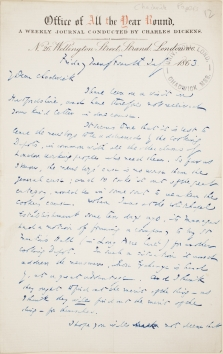 "Letter to Edwin Chadwick from Charles Dickens about ""Cooking Depots"""