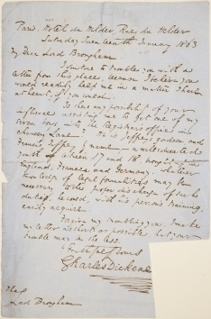 Letter from Charles Dickens to Henry Brougham about Francis Jeffrey