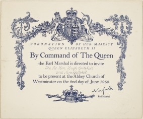 Invitation to the Coronation ceremony