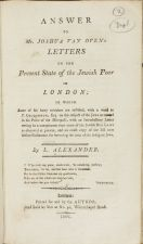 Answer to Mr. Joshua Van Oven's Letters on the present state of the Jewish poor in London; in which some of his hasty mistakes are rectified, with a word to P. Colquhoun, Esq. on the subject of the Jews as treated in his Police of the Metropolis