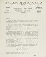 Letter from the Trades Advisory Council regarding wartime food regulations in relation to the baking of challah
