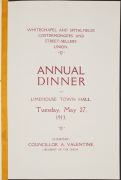 Menu for the annual dinner of the Whitechapel and Spitalfields Costermongers. and Street-sellers. Union.