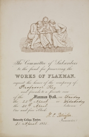 Invitation to the opening of the Flaxman Gallery on 21 April 1851.