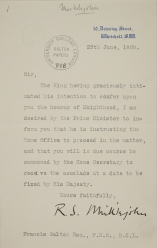 Letter from Downing Street proposing knighthood, June 1909