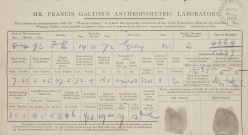Record card from the Anthropometric Laboratory