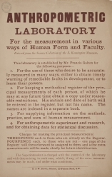 Poster for the South Kensington Anthropometric Laboratory