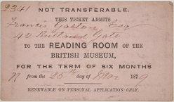 Reader's ticket for the British Museum Reading Room, 1879