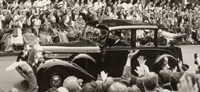 Queen Elizabeth's Coronation Tour outside UCH, June 1953