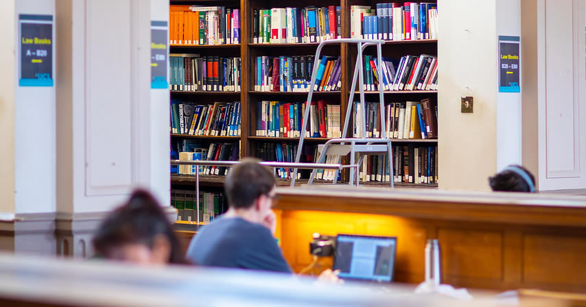 Student using the library
