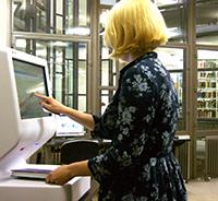 Self service machine in use