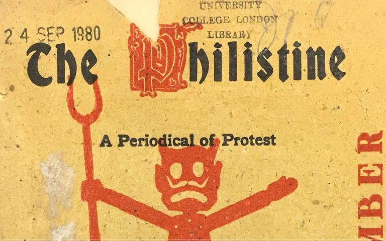 The Philistine: A Periodical of Protest. Ripped cover with UCL Library stamp.