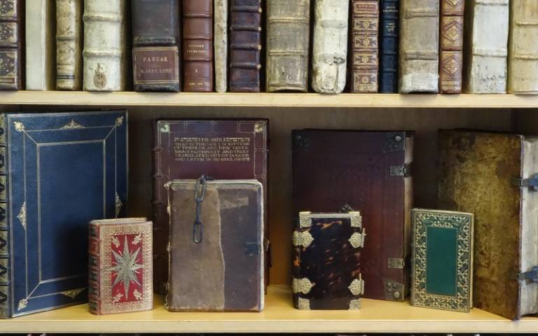 Rare books from UCL Special Collections on a shelf
