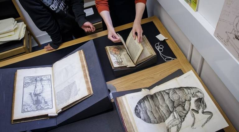Two people (visible from the chest down) stand at a table laden with rare books that have been carefully displayed using books rests and page weights.  The books reveal intricate medical and natural history illustrations.