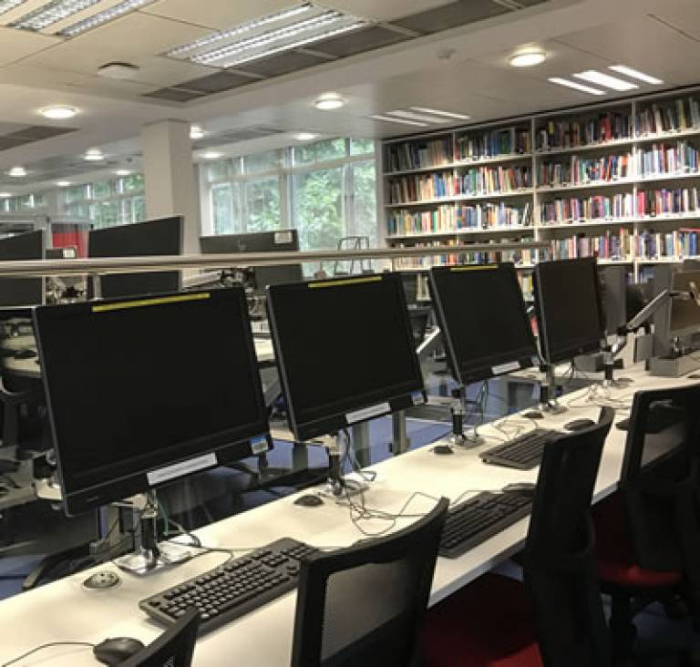 Desks at Institute of Child Health Library
