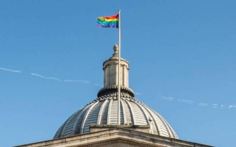 Rainbow flag atop UCL main building