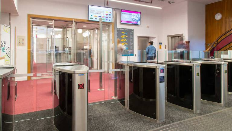 UCL Science Library entry gates, 2018
