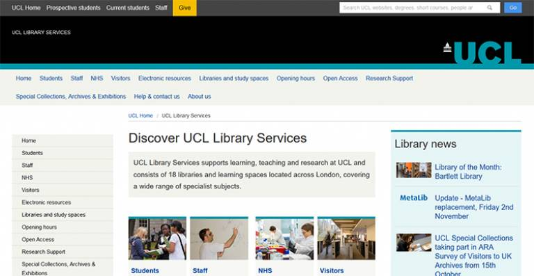 Screenshot of Library Services website homepage