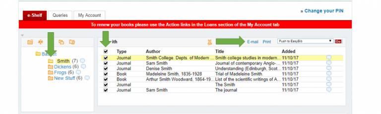 Screenshot of classic Explore UI eShelf showing e-mail option