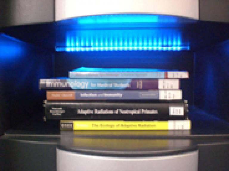 Book pile on self-issue kiosk