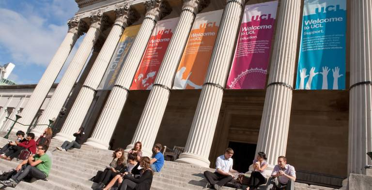 Students on Portico steps