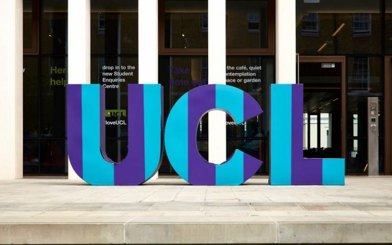 UCL letters art sculpture outside the UCL Student Centre