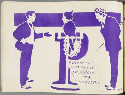 Illustration for the letter P in the satirical book 'An anti-suffrage alphabet' by Laurence Housman. Shelfmark: LAURENCE HOUSMAN COLLECTION 347