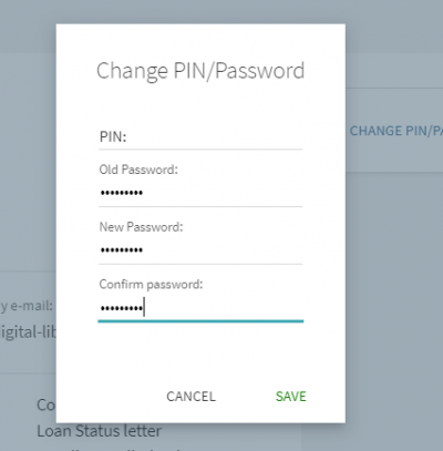 Explore change PIN / password screenshot
