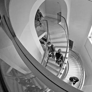 Main Library staircase b&w