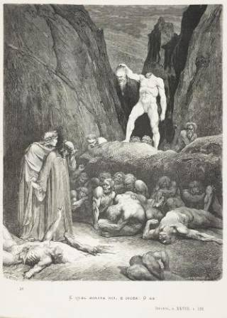 Dante Alighieri's 'The vision of Hell', illustrated with the designs of Gustave Doré. Shelfmark: DANTE FOLIOS DD 95 DOR (1)