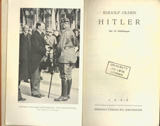 Title page of 'Hitler' by Rudolf Olden, including black and white photograph of Adolf Hitler. Shelfmark: OLDEN COLLECTION 563
