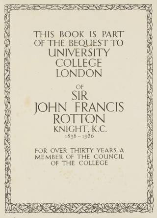 Book label from book bequested to UCL from Sir John Francis Rotton