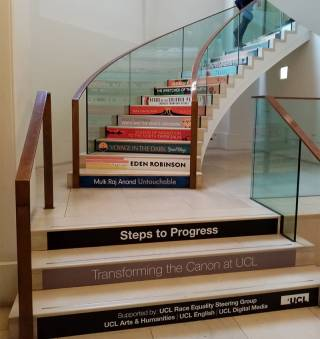 Photo of Steps to Progress exhibit in UCL Main Library
