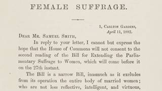 Female Suffrage. A Letter from The Right Hon W E Gladstone MP to Samuel Smith