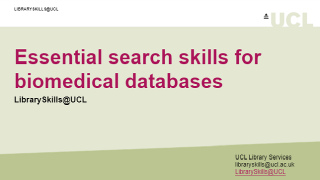 Essential search skills for biomedical databases front page