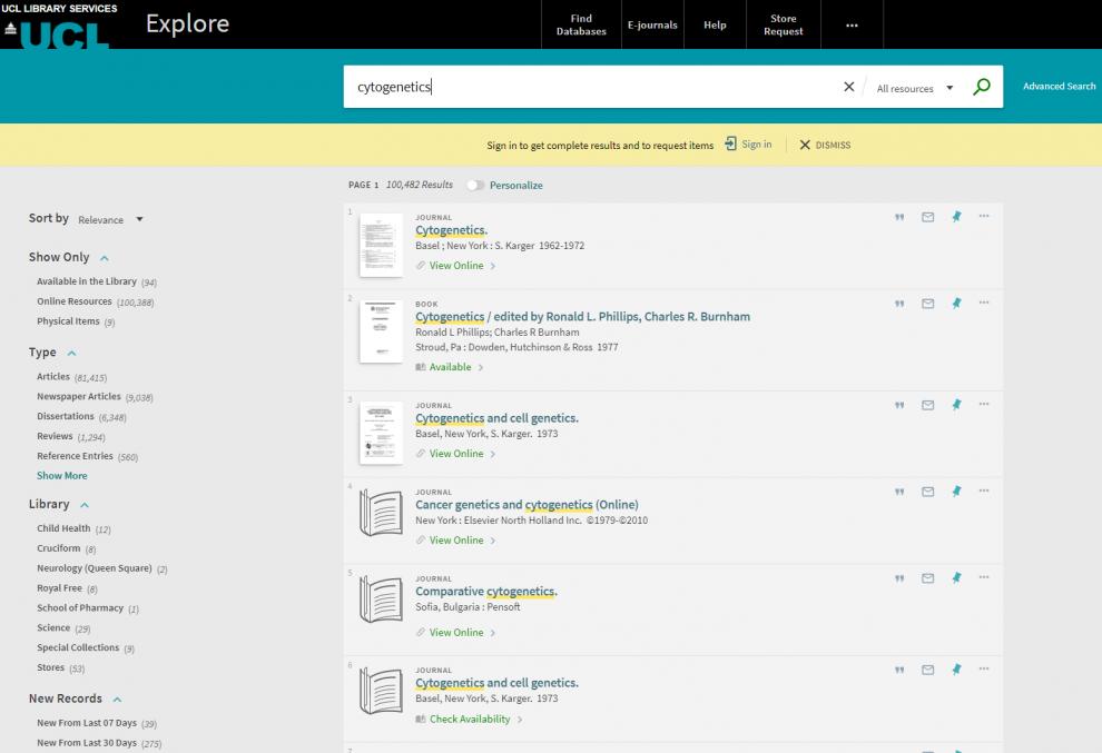 Explore brief results screenshot